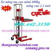 Xe nâng tay cao mini 400kg nâng cao 1.1 mét GAMLIFT giá siêu rẻ call 0984423150