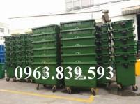 Thùng rác nhựa HDPE, thùng rác công cộng 660L 4 bánh xe giá rẻ