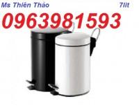 Thùng rác INOX tròn, thùng rác inox 30 lít, thùng đựng rác nơi công sở giá rẻ