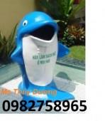 Thùng rác hình cá chép, thùng rác chim cánh cụt, thùng rác nhựa HDPE giá rẻ