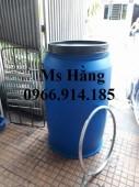 Thùng nhựa 220l nắp kín,thùng nhựa 220l nắp hở có đai kẹp
