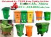 Nơi bán thùng rác 120 lít 240 lít giá rẻ tại trà vinh- thùng rác xanh, cam, vàng