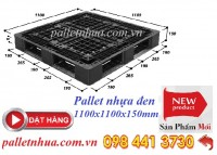 Pallet nhựa đen 1100x1100x150mm , 1100x1100x125mm giá khuyến mãi