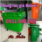 PP thùng rác 240 lít giá rẻ tại khánh hòa, thùng rác nhựa giá thấp- 0911.082.000