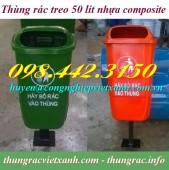 Sản xuất thùng rác treo đơn, thùng rác treo 50 lít nhựa composite giá rẻ