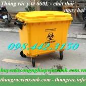 Xe gom rác y tế 660 lít màu vàng chứa chất thải nguy hại