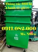 Bán thùng rác 660 lít 4 bánh xe, nắp kín giá rẻ cần thơ
