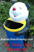Thùng rác chim cánh cụt ôm bóng, thùng rác nhựa HDPE, thùng rác công cộng giá rẻ