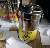 Hộp kim tiêm inox 6 lít, hộp hủy kim y tế inox 6 lít