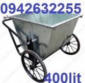 Xe gom rác tôn 500 lít, xe thu gom rác, xe đẩy rác bằng tôn giá rẻ
