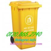 Giá cực sốc thùng rác y tế 240 lít, thùng chứa rác thải nguy hại, thùng rác 240