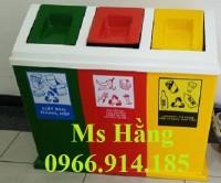Thùng rác nhựa composite 3 ngăn giá rẻ,thùng rác trường học 3 màu