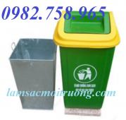 Thùng rác 90l nắp lệch, thùng rác công cộng, thùng rác HDPE, thùng rác giá rẻ