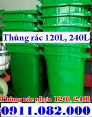 Bán rẻ thùng rác 120l, 240l nhựa HDPE, nắp kín, 2 bánh xe giá siêu rẻ
