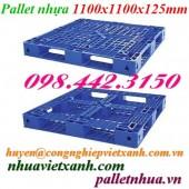 Pallet nhựa xanh dương 1100x1100x125mm