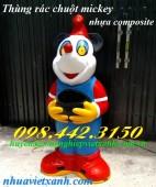 Thùng rác hình chuột mickey nhựa composite