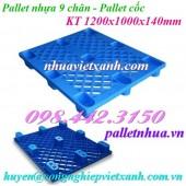 Pallet nhựa 9 chân - Pallet cốc 1200x1000x140mm màu xanh dương giá rẻ