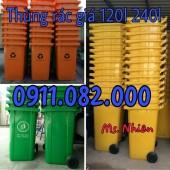 Thùng rác 240 lít giá rẻ tại cà mau- Thùng rác xanh, cam, vàng, nắp kín- lh 091