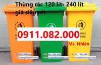 PP thùng rác nhựa, thùng rác y tế, thùng rác 120 lít 240 lít giá rẻ trà vinh