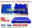 Pallet nhựa 1200x1000x150mm màu xanh