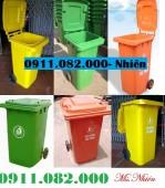Nơi bán thùng rác 120 lít giá cực rẻ- thùng rác 240 lít màu xanh, cam, vàng- 091